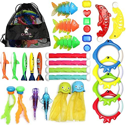 Chuchik Diving Toys 30 Pack, Swimming Pool Toys for Kids Includes 4 Diving Sticks, 4 Diving Rings, 6 Pirate Treasures, 3 Toypedo Bandits, 9 Fish Toys, 4 Octopus – Water Toys with a Storage Net Bag