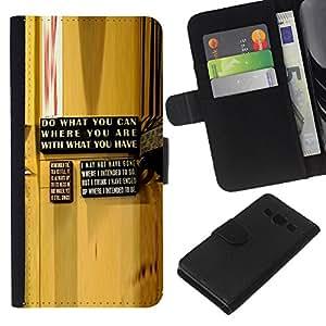 Planetar® Modelo colorido cuero carpeta tirón caso cubierta piel Holster Funda protección Para Samsung Galaxy A3 ( Abstracto amarillo Mensaje de madera del grano )