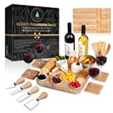 100% Bamboo Cheese Board with Slide-Out Drawer & 4-Piece Stainless Cutlery Set. Includes FREE set of matching coasters. Perfect House Warming Gift & Best Choice For Every Kitchen. Large 13''x13''