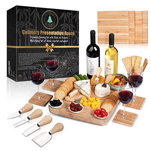 100% Bamboo Cheese Board with Slide-Out Drawer & 4-Piece Stainless Cutlery Set. Includes FREE set of matching coasters. Perfect House Warming Gift & Best Choice For Every Kitchen. Large 13''x13'' by New England Crafts & Design