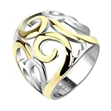 Jinique STR-0048 Stainless Steel Two Tone IP Smoke Swirl Hearts Frontal Ring; Comes With Box