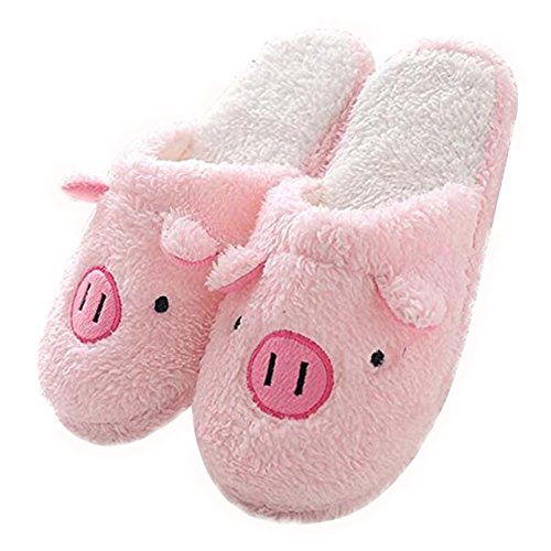 Winter Warm Herren Frauen Indoor Schuhpaar Haus Slipper Pink Pig