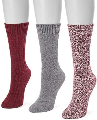 MUK LUKS womens Women's 3 Pair Pack Boot Socks