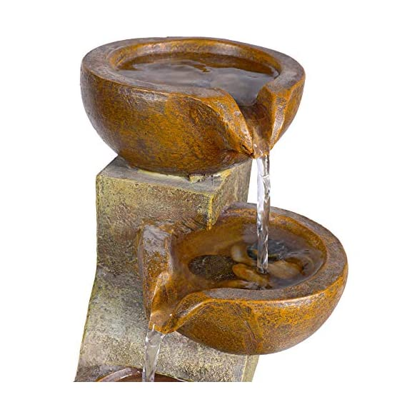 Alpine Corporation 4-Tier Pouring Pots Fountain - Tabletop Indoor/Outdoor Water Fountain for Yard, Patio, Garden - Brown - Make sure this fits                by entering your model number. POURING POTS FOUNTAIN: Outdoor fountain is the perfect addition to your decor. Interior pump keeps the water flowing - just plug it in! RELAXING WATER FLOW: Water trickles down through pots to mimic the sounds of a real waterfall, adding peaceful ambiance to your home or yard - patio, outdoor-decor, fountains - 51Dx4DKUkwL. SS570  -