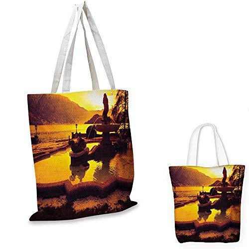 Italian canvas messenger bag Tremezzo at Sunset Mediterranean Famous Landmark European Cityscape Town Scenery Image canvas beach bag Orange. 14