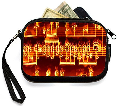 Music Coin Purse (Rikki Knight Music Notes Fire Burning - Neoprene Clutch Wristlet Coin Purse with Safety Closure - Ideal case for Cosmetics Case, Camera Case, Cell Phones, Passport, etc..)
