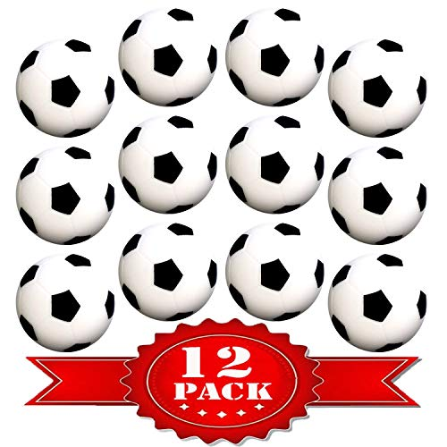Table Soccer Foosballs Replacements Mini Black and White Soccer Balls - Wholesale Pack - Set of 12