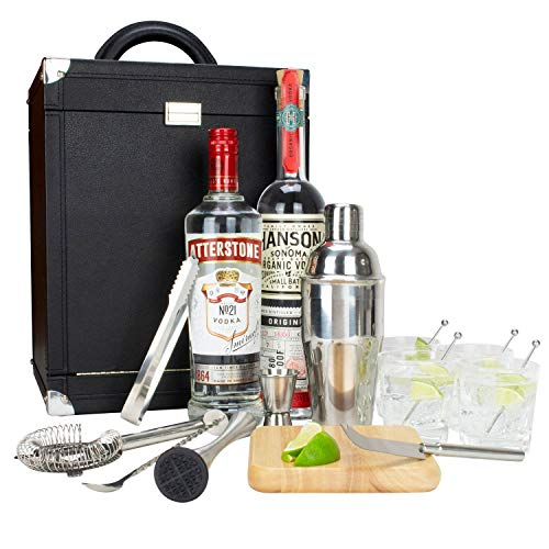 Atterstone 17-Piece Premium Travel Cocktail Set, Portable Bar-Ware Box Kit for Bartenders and Mixologists, Complete Bar Tool Accessories Kit for Hosting Serving and Entertaining by Atterstone (Image #2)