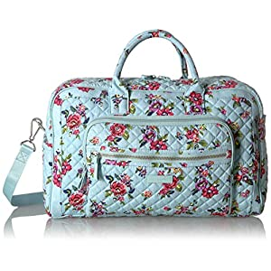 Vera Bradley Iconic Compact Weekender Travel Bag, Signature Cotton, Water Bouquet