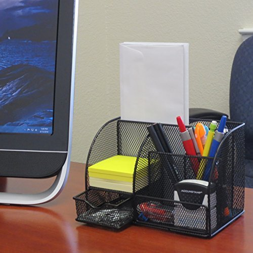 RamBue, Multipurpose Metal Mesh 6 Compartment Desk Organizer Office Supply Caddy (Black )