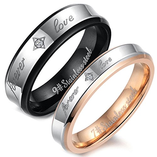 Flongo Men's Womens Free Engraving 2PCS Forever Love Stainless Steel Ring Couples Valentine Wedding Engagement Promise Band ()