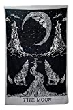 Labhanshi Crying Wolf of The Moon Tapestry wall hanging Bohemian Ethnic Wall Art