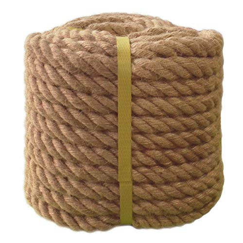 Twisted Manila Rope Jute Rope 100 Feet Natural Thick Hemp Rope for Crafts, Nautical, Landscaping, Railings, Hanging Swing(3/4 Inch Diameter) ()
