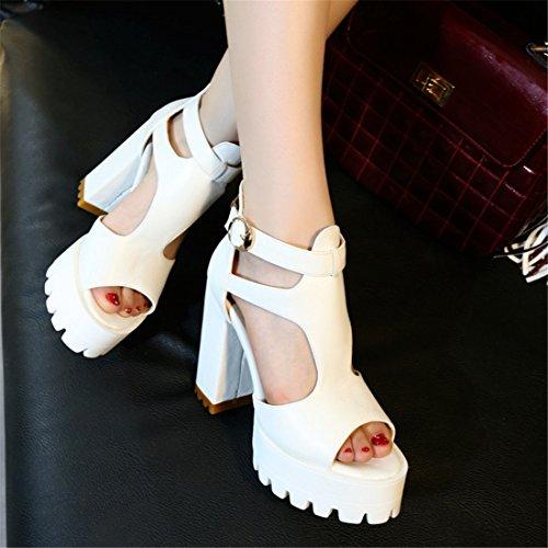 YE Women Ankle Strap Block High Heels Sandals Platform Pumps Shoes White jOT2a5P
