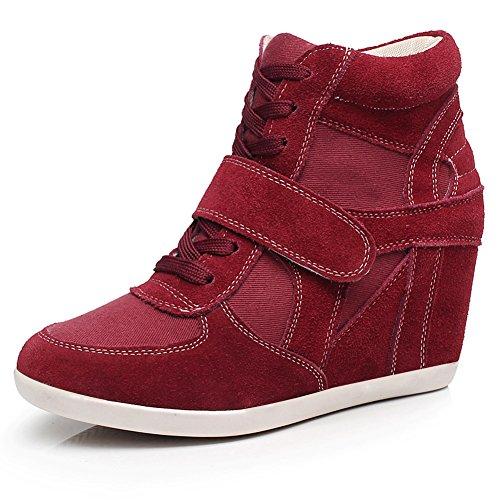 Donne Rismart Leggere Scarpe Da Ascensore Scarpe Zeppa Tacco Alto Moda Sneakers Borgogna 8522 Us4.5