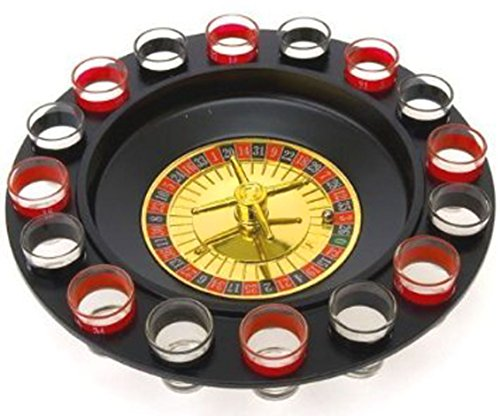The Lucky Roulette Shot Glass Bar Drinking Game Set comes with the spinning roulette wheel ,2 metal balls and 16 shot glasses that you can fill with your drinks of choice. This will certainly liven up any party! Add excitement to your home wi...