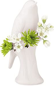 Unique White Ceramic Bird Flower Vase, Small Bud Vase for Short Flowers like Mini Roses, Decorative Floral Vase for Home Décor and Flower Arranging, Perfect Table Vase for a Single Flower