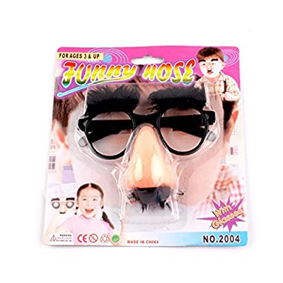 Wendy Mall Funny Costume Halloween Big Nose Beard Glasses Disguise Eyebrows and Mustache Glasses Fake Nose Party Props: Toys & Games