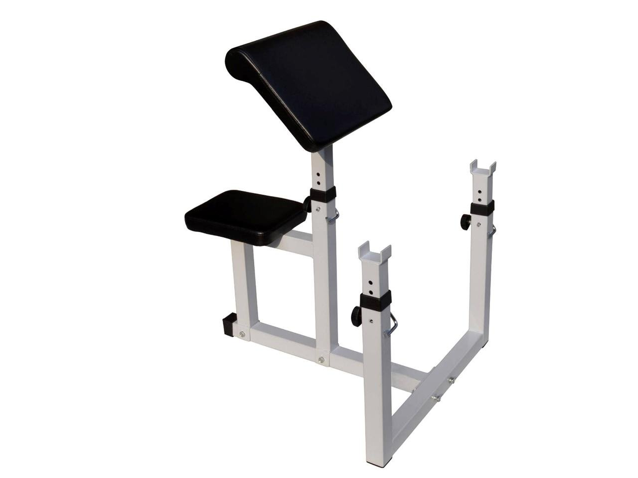 Adjustable Preacher Curl Weight Bench Seated Isolated Curl Height Dumbbell Bicep (Black/White)