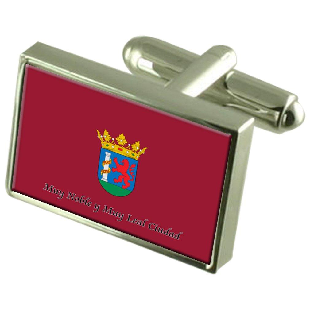 Badajoz City Spain Flag Cufflinks Engraved Box