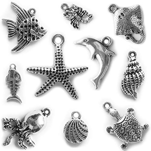 Heather's cf 100 pcs Sea Charm Beads DIY Pendant Animal Charms for Jewelry Making Supplies