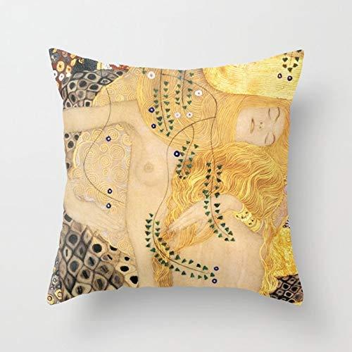 (Throw Pillow Cover Soft Cotton Decorative Pillow Cover Sofa Cushion Cover Home Decoration 18x18 inch - Water Serpents Gustav Klimt)