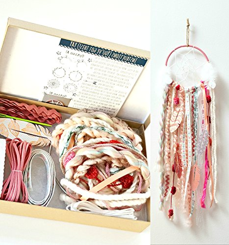 Pink DIY Dream Catcher Box Kit Craft Project Do It Yourself Bohemian Birthday Gift for Girls from The House Phoenix
