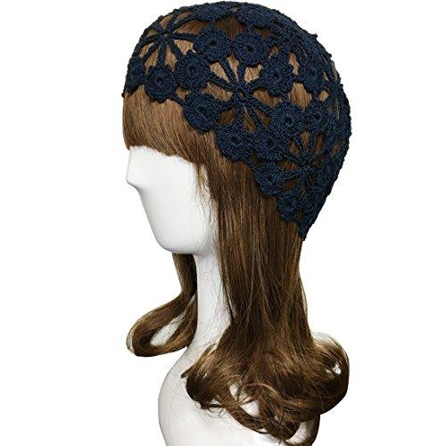 ZORJAR Knit Hats for Women Cap Handmade Crochet Linen Plum Blossom Designt For 3 Seasons(M, Navy)