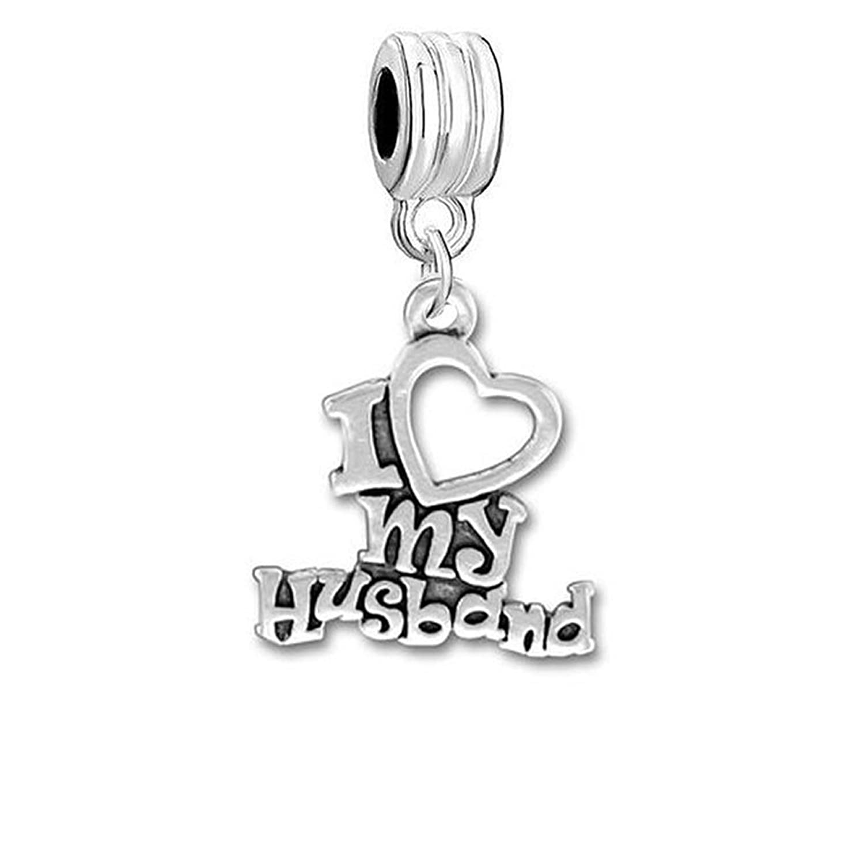 """I Love My Husband "" or Choose ""I Love My Wife""charm Dangle Bead Compatible with Snake Chain Bracelets"