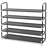 SONGMICS 5 Tiers Shoe Rack Space Saving Shoe Tower Cabinet Storage Organizer Black ULSH55H