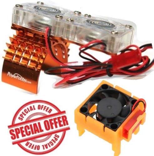 Powerhobby Traxxas Slash 4x4 モーター冷却ファン/ヒートシンク デュアルツインファン + Velineon VXL-3s ESC 冷却ファンコンボ オレンジ