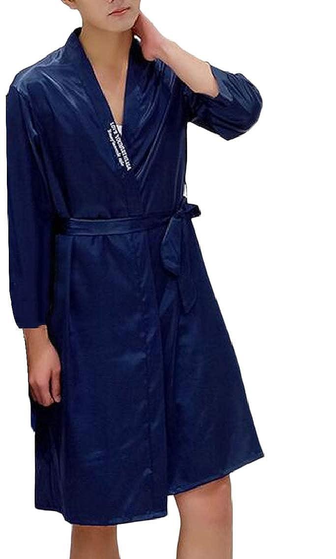 Hokny TD Mens Satin Robe Long Sleeve Bathrobe Lightweight Sleepwear