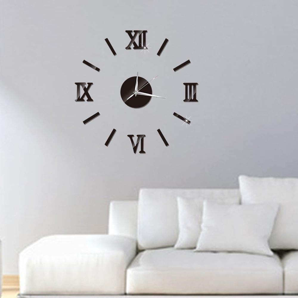 DAWEIF DIY Wall Clock 3D Acrylic Art Stickers Decals Modern Home Decor for Living Room Bedroom
