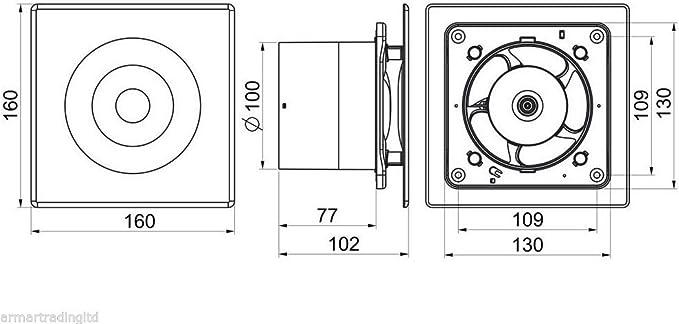 """Salle de bain extracteur ventilateur 100mm//4/"""" avec minuteur constamment en sous-sol WL100T"""