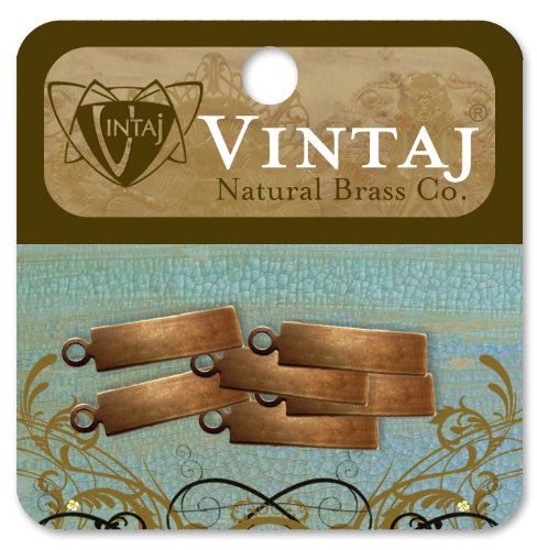 Vintaj 6-Piece Rectangle Tag Altered Blank Pendant for Jewelry Making, 21mm