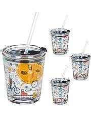 Relaxdays 10036040 Glazen bekers met deksel en rietje, set van 4, met sportmotief, 350 ml, vaatwasmachinebestendig, drinkglas, transparant