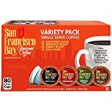 San Francisco Bay Onecup Variety Pack Coffee - 80 Count Onecup For K-cup Brewer - Caffeinated - Breakfast Blend Rainforest Fog Chaser French Roast