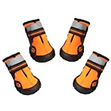 Asmpet Dog Boots Waterproof Shoes with Reflective Anti-Slip Sole Snow Boots Warm Paw,4pcs (Size 7 : 3.23' L × 2.75' W, Orange)