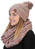 aPOM-6800-816.41 POM Beanie Hat Matching Scarf Set Bundle - Rainbow 4#11