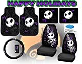 jack and sally car seat covers - Nightmare Before Christmas Full Auto Interior Gift Set Front & Rear Floor Mats Seat Covers & Steering Wheel Jack Skellington Disney - FREE Bonus Detailing Wash Mitt