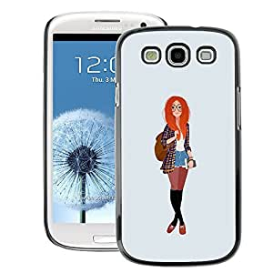 A-type Arte & diseño plástico duro Fundas Cover Cubre Hard Case Cover para Samsung Galaxy S3 (Redhead Smart Hipster Feminist Education)
