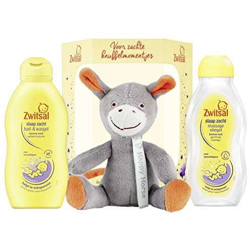 Zwitsal Slaap Zacht Geschenkset 3-delig – Bad- en wasgel, Massageolie en Happy Horse Knuffel Cadeaupakket – 1 pakket