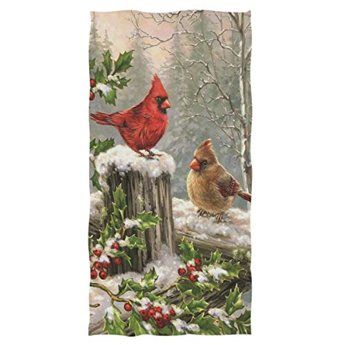 Wamika Cardinal Red Bird Holly Berry Branches Snow Towels Bathroom Bath Towel Ultra Soft Highly Absorbent Multipurpose Large Hand Towel for Hotel,Gym,Sports and Spa Home Decor, 16x30 in (Holiday Bird Decor)
