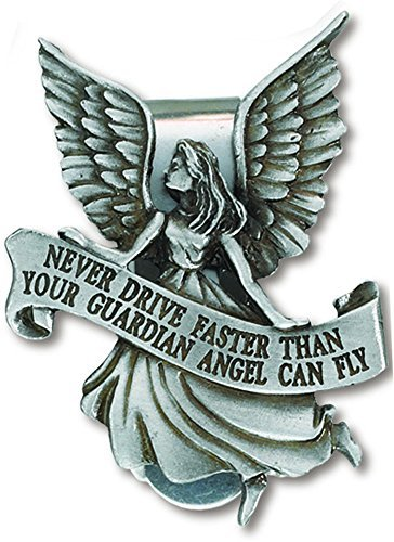 Never Drive Faster Than Your Guardian Angel Can Fly Pewter Auto Visor Clip 2