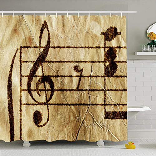 Ahawoso Shower Curtain 60x72 Inches Note Piano Antique Music Sheet Abstract Vintage Guitar Score Old Study Correction Waterproof Polyester Fabric Bathroom Curtains Set with - Sheet Chord Bar