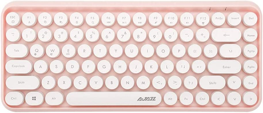 Color : Pink BOWCORE Comb Bluetooth Keyboard Retro Round Keycap Plastic Panel Colorful Border Waterproof Mobile Phone Keyboard