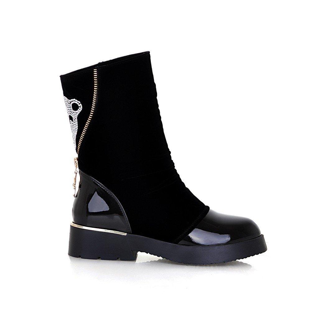 Rui Botas de otoño e invierno / Martin botas de cabeza de leopardo botas de las mujeres solteras botas / los zapatos en tubo-Negro longitud de pie ...