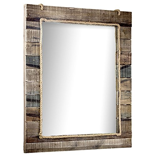American Art Decor Country Rustic Wood Paneled Wall Vanity Accent Mirror with -