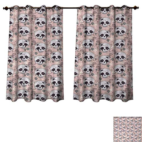Anzhouqux Skull Blackout Curtains Panels for Bedroom Halloween Traditional Mexican Sugar Day of The Dead Roses Horror Folk Pattern Room Darkening Curtains Blush White Onyx W52 x L63 inch for $<!--$45.60-->