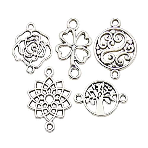 WOCRAFT 100pcs Craft Supplies Antique Silver Clover Flower Tree of Life Connector Charms for Jewelry Making Crafting Findings Accessory for DIY Necklace Bracelet M298 ()